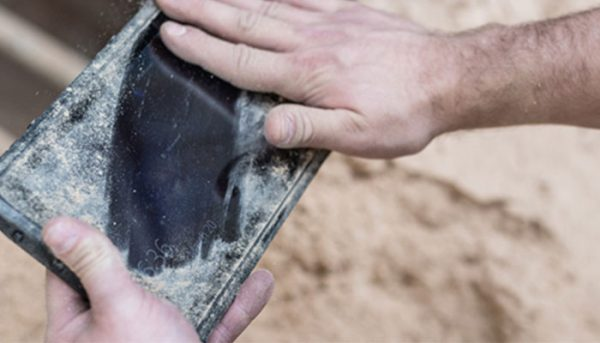 Caterpillar-T20-Tough-Tablet-covered-in-Dust
