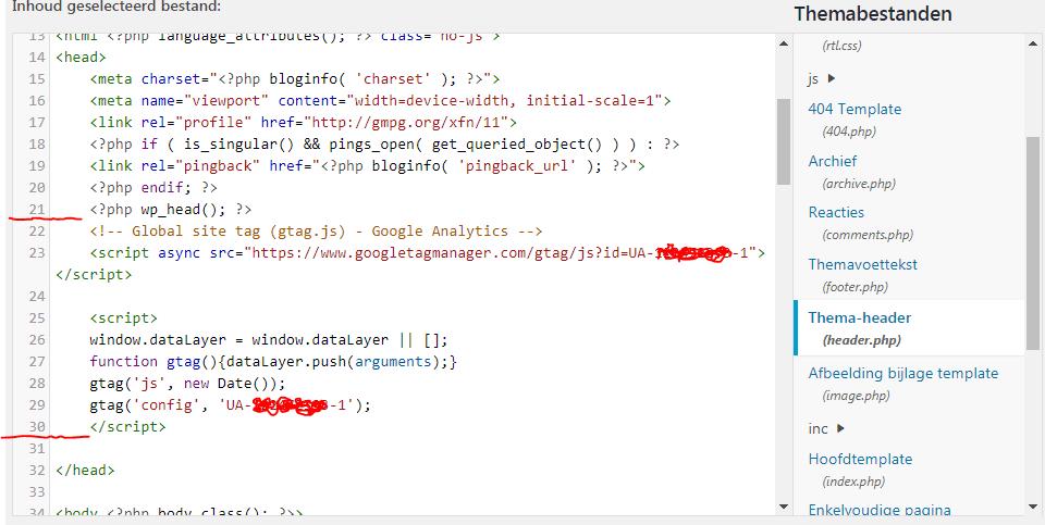 Stap 2.3 - Plak de gekopieerde code net boven de sluitende html tag 'HEAD' zoals in het voorbeeld