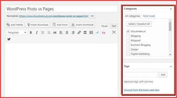 wordpress bericht categorieen en tags