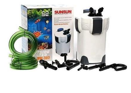 Overzicht van alle onderdelen pomp en doos van de sunsun hw-302
