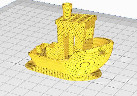 Voorbeeld van het printen van een 'brim' oftewel rand om je kleine model heen