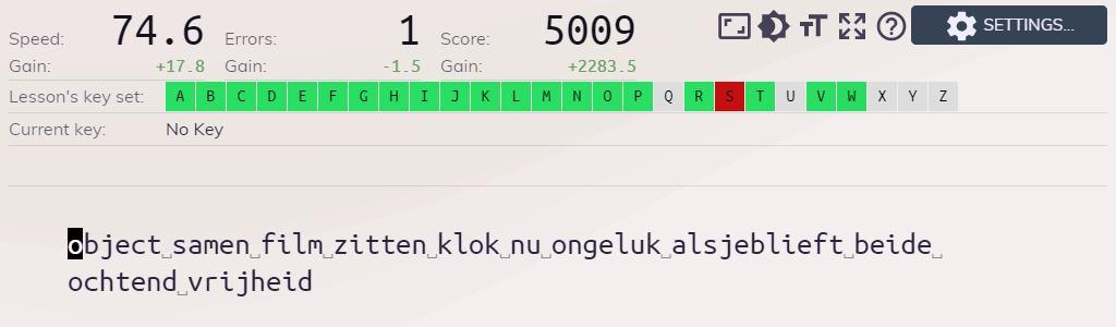 overzicht van Keybr waar de letters WPM en Nederlandse lijst gebruikt wordt