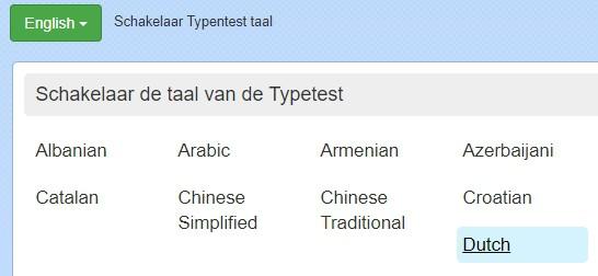 zet de typetest op Nederlands voor je begint