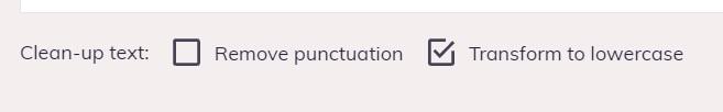 zorg er voor dat de optie Transform to lowercase aan staat