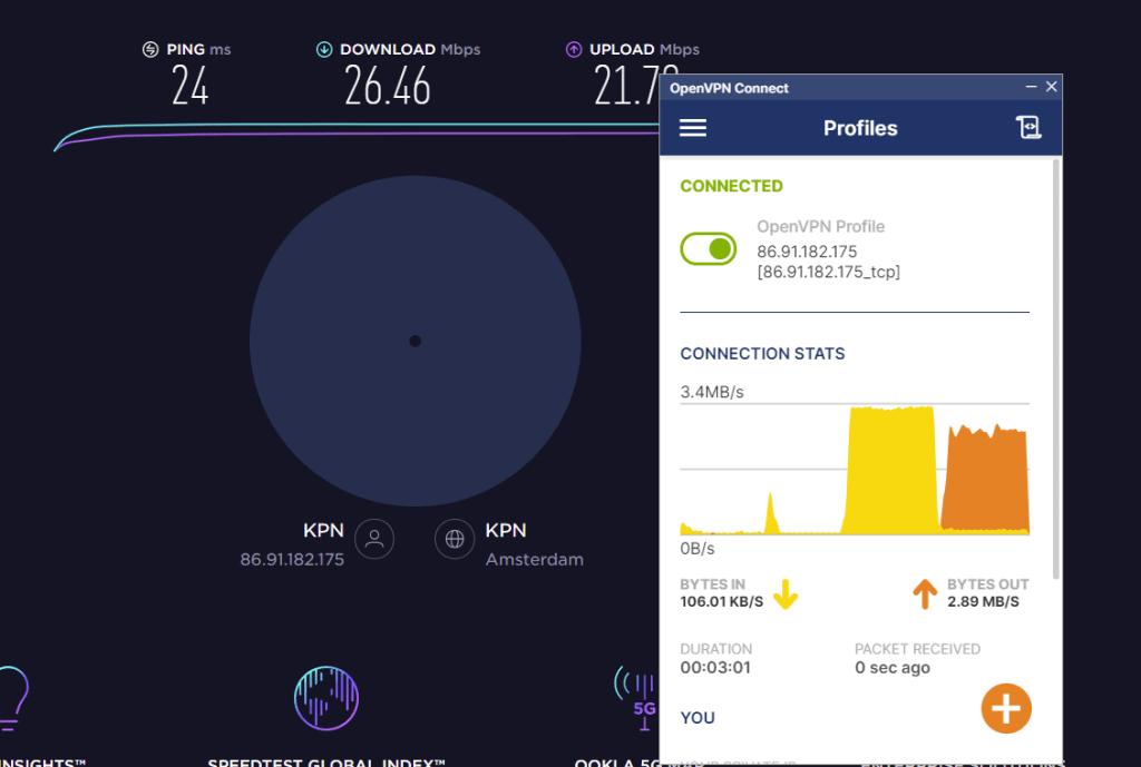 Overzicht van de verbinding met OpenVPN en speedtest resultaten.