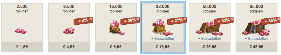 Voorbeeld van de prijzen in-game voor gems vanuit Nederland