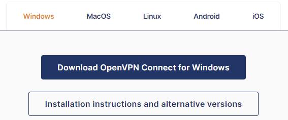 overzicht van besturingssystemen waarvoor OpenVPN Connect gedownload kan worden